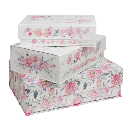 Pretty Floral Storage Boxes - Palette of Posies Set Of 3 Photo Document Office Storage Box - Gift
